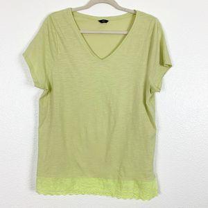 M&Co Yellow V-Neck Short Sleeve Lace Hem T-Shirt